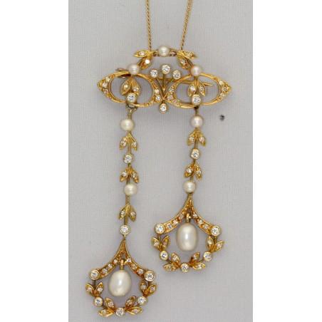 Chaine pendentif diamants et perles