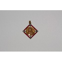 Médaille religieuse or , rubis et diamants