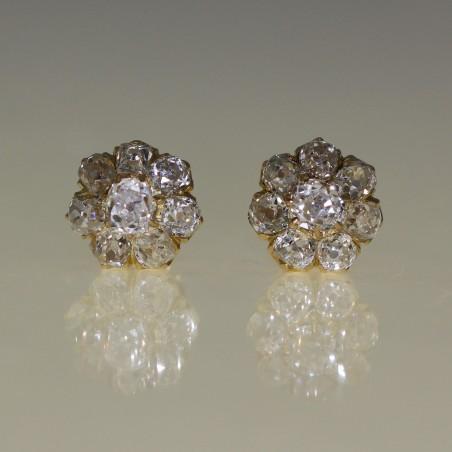 Clous d'oreilles marguerite diamants 1905-1910