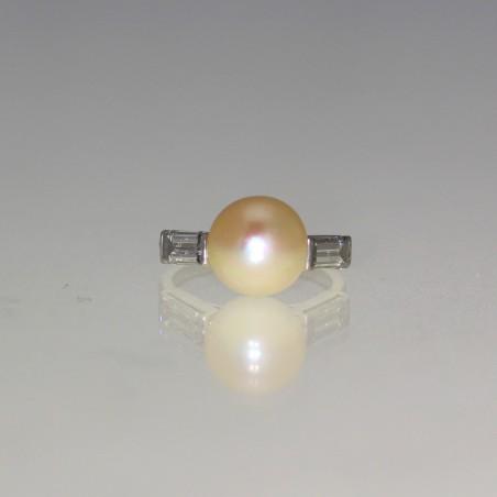 Bague perles et diamants