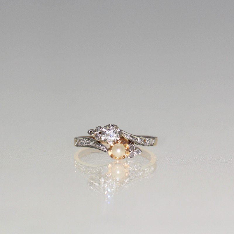 Bague perle et diamants 1910-1920