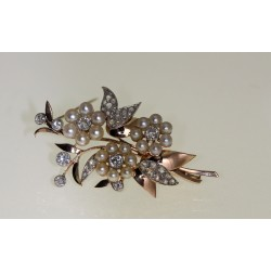 Broche perles et diamants