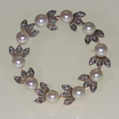 Broche en perles et diamants 1960